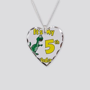 Dinosaur 5th Birthday Shirt Necklace Heart Charm