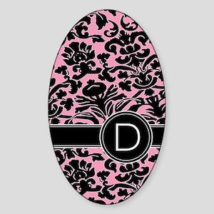 443_monogram_pink_D Sticker (Oval)
