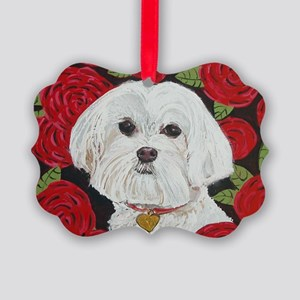 MalteseValentine4x6. Picture Ornament