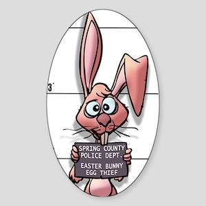 Easter Bunny Mugshot Oval Sticker