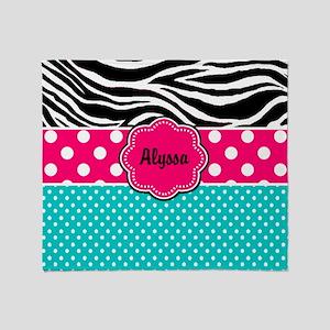 Pink Blue Zebra Personalized Throw Blanket