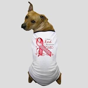 I Wear Red Because I Love My Mom Dog T-Shirt