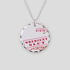 OBEDIENT--SLUT Necklace Circle Charm