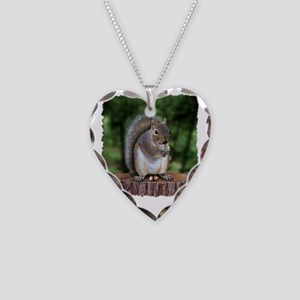 Squirrel nuts w Necklace Heart Charm