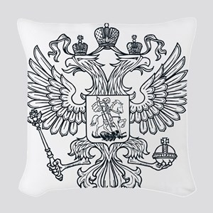 royal russian eagle crest symb Woven Throw Pillow