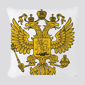 royal russian eagle crest gold Woven Throw Pillow