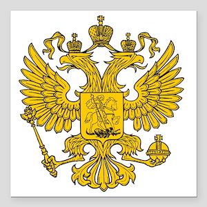 "royal russian eagle cres Square Car Magnet 3"" x 3"""