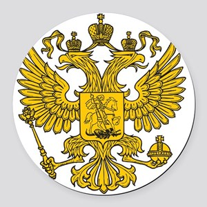 royal russian eagle crest gold sy Round Car Magnet
