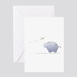 hippo and dragonfly Greeting Cards