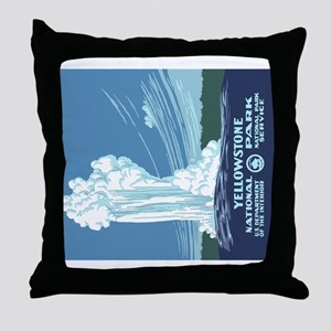 5x3oval_sticker_yellowstone_02 Throw Pillow