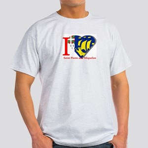 I love St Pierre & Miquelon Ash Grey T-Shirt