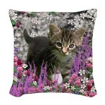 Emma in Flowers I Woven Throw Pillow