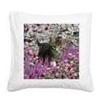 Emma in Flowers I Square Canvas Pillow