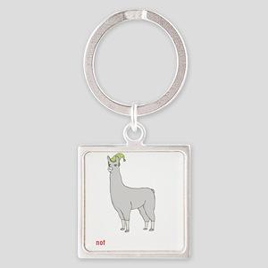 Llamas-D7-BlackApparel Square Keychain