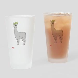 Llamas-D7-BlackApparel Drinking Glass