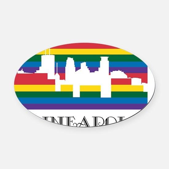 Rainbow Minneapolis Oval Car Magnet