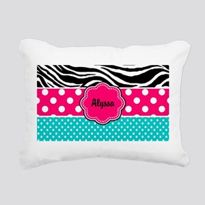 Pink Blue Zebra Personalized Rectangular Canvas Pi