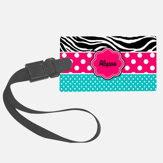 Pink Blue Zebra Personalized Luggage Tag