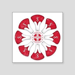 """Schwinn Flower - Red 2 Square Sticker 3"""" x 3"""""""