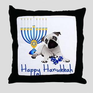 Hanukkah Pug w/Dreidels and Menorah Throw Pillow