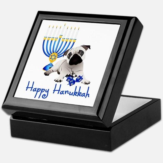 Hanukkah Pug w/Dreidels and Menorah Keepsake Box