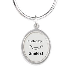 Fueled by Smiles Silver Oval Necklace
