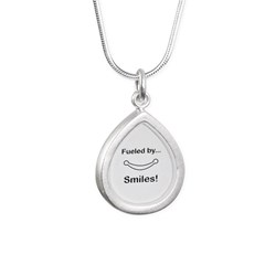 Fueled by Smiles Silver Teardrop Necklace