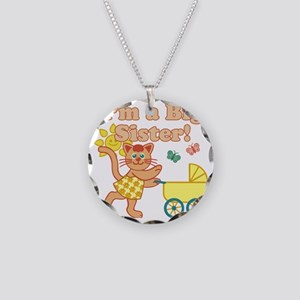 Big Sister Cat Necklace Circle Charm