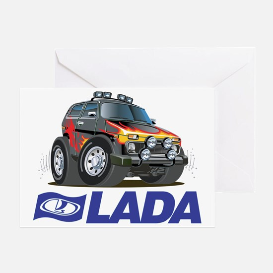 Funny Lada Niva plus logo Greeting Card