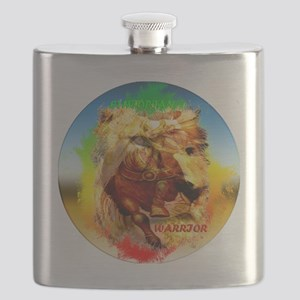 clock right sign lion-sticker Flask