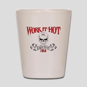 work it hot Lineman logo 3 Shot Glass
