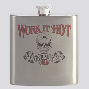 work it hot Lineman logo 3 Flask