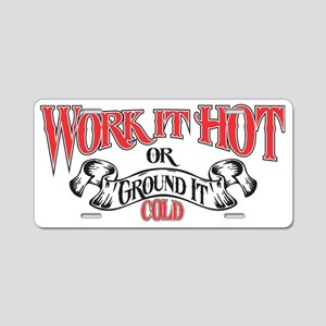 work it hot hat logo 1 Aluminum License Plate
