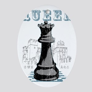 RB chess shirt queen blk Oval Ornament