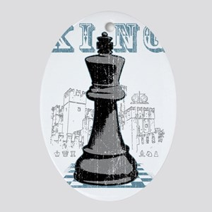 RB chess shirt king blk Oval Ornament