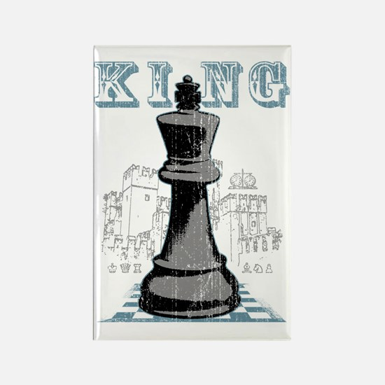 RB chess shirt king blk Rectangle Magnet