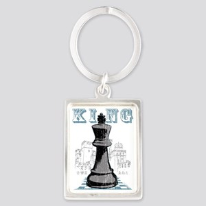 RB chess shirt king blk Portrait Keychain