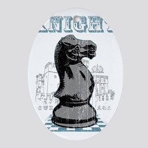 RB chess shirt knight blk Oval Ornament