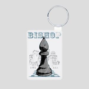 RB chess shirt bishop blk Aluminum Photo Keychain