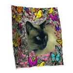 Stella Cat Butterflies Burlap Throw Pillow
