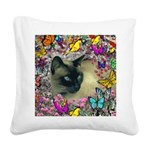 Stella Cat Butterflies Square Canvas Pillow