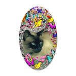 Stella Cat Butterflies 20x12 Oval Wall Decal