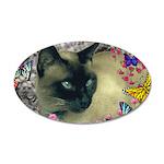 Stella Cat Butterflies 35x21 Oval Wall Decal