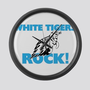 White Tigers rock! Large Wall Clock