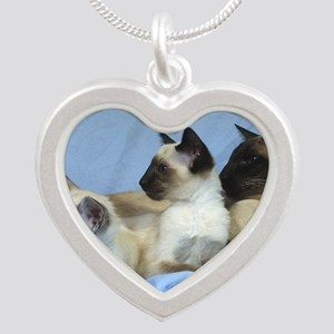 Siamese Cat 9W055D-074 Silver Heart Necklace