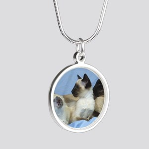 Siamese Cat 9W055D-074 Silver Round Necklace