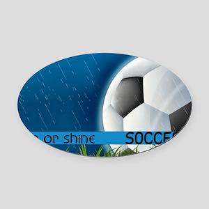 SoccerRain2 Oval Car Magnet