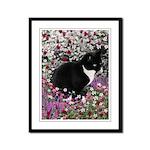 Freckles Tux Cat Flowers II Framed Panel Print