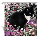 Freckles Tux Cat Flowers II Shower Curtain