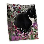 Freckles Tux Cat Flowers II Burlap Throw Pillow